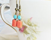 Orange and Turquoise Earrings - Coral Red Vintage Glass Jewel - Multicoloured Multicolored Dangle