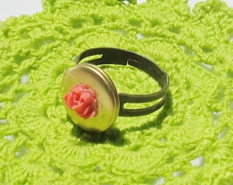 SALE Gaia Secret Keeper Ring. Miniature Locket Rose Flower Coral Red Cabochon Jewellery Jewelry dspdavey Melbourne