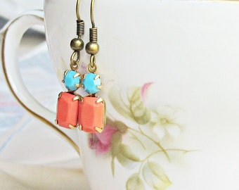 Orange and Turquoise Earrings. Coral Red Vintage Glass Jewel. Glam It Up Brass Multicoloured Multicolored. Dangle Dainty Teens On Trend Gift