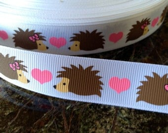 """7/8"""" Heart Porcupine  Grosgrain ribbon sold by the yard"""