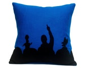 Appliqued Eco Felt Pillow Cover in Black and Blue - 18 inches