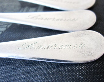 Antique Demitasse Spoons Engraved LAWRENCE by 1847 Rogers Bros.