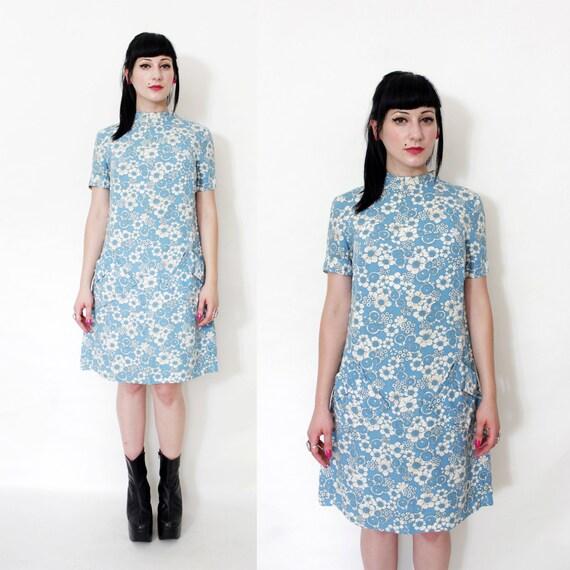 Vintage dress / 60 blue floral mod dress / size S