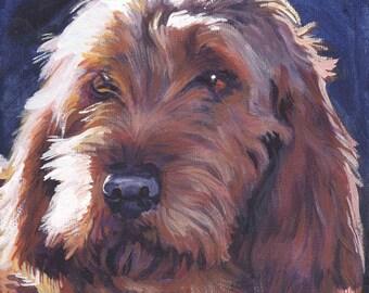 Basset Fauve de Bretagne portrait dog art CANVAS print of LA Shepard painting 12x12