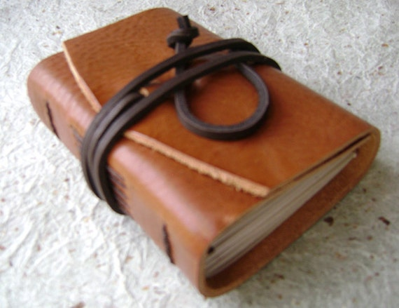 Pocket Journal, rustic tan, handmade leather journal by Dancing Grey Studio on Etsy