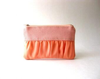 BLACK FRIDAY - Coin purse, zipper pouch, gadget case - The True Romantic Coin Purse in pink / peach