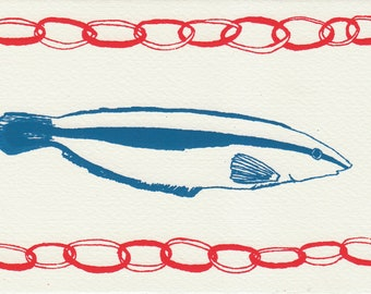 Fish Screen Printed Greetings Gift Card