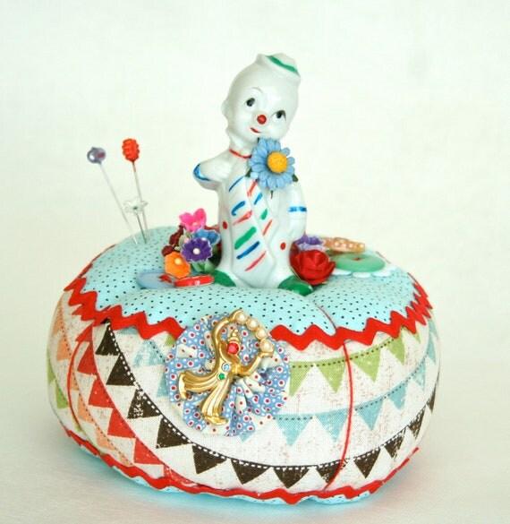 Vintage Circus Clown Pincushion
