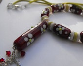 LilLizaJane jewellery - red floral lampwork tube bead pendant necklace