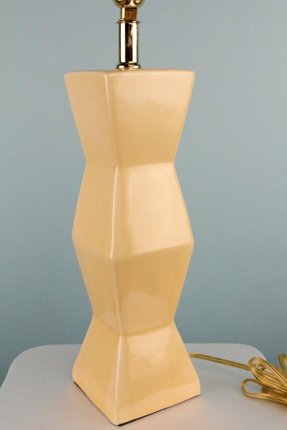 Vintage 1980s Art Deco Lamp Home Decor Creamy Tan Geometric