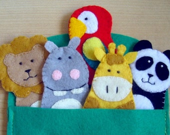 Zoo Jungle  animals finger felt puppets