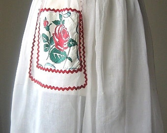 APRON Kitchen Pinafore Cook Chef Skirt Cover Vintage White Organdy Rose Pocket