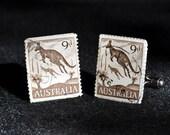 Australian Kangaroo -Vintage Postage Stamp Cuff LInks