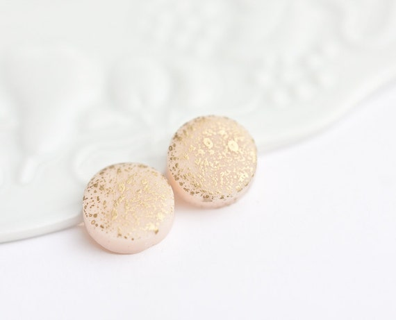Gold Spattered Stud Earrings Nude Flesh Pastel Beige fall fashion geometric jewelry rusteam Free Shipping