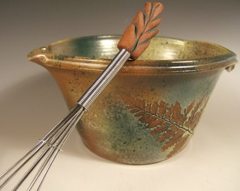 Ceramic Mixing Bowl with Whisk, Pottery Batter Bowl-Handled Bowl with Green Leaf Glaze in Oak & Fern stoneware
