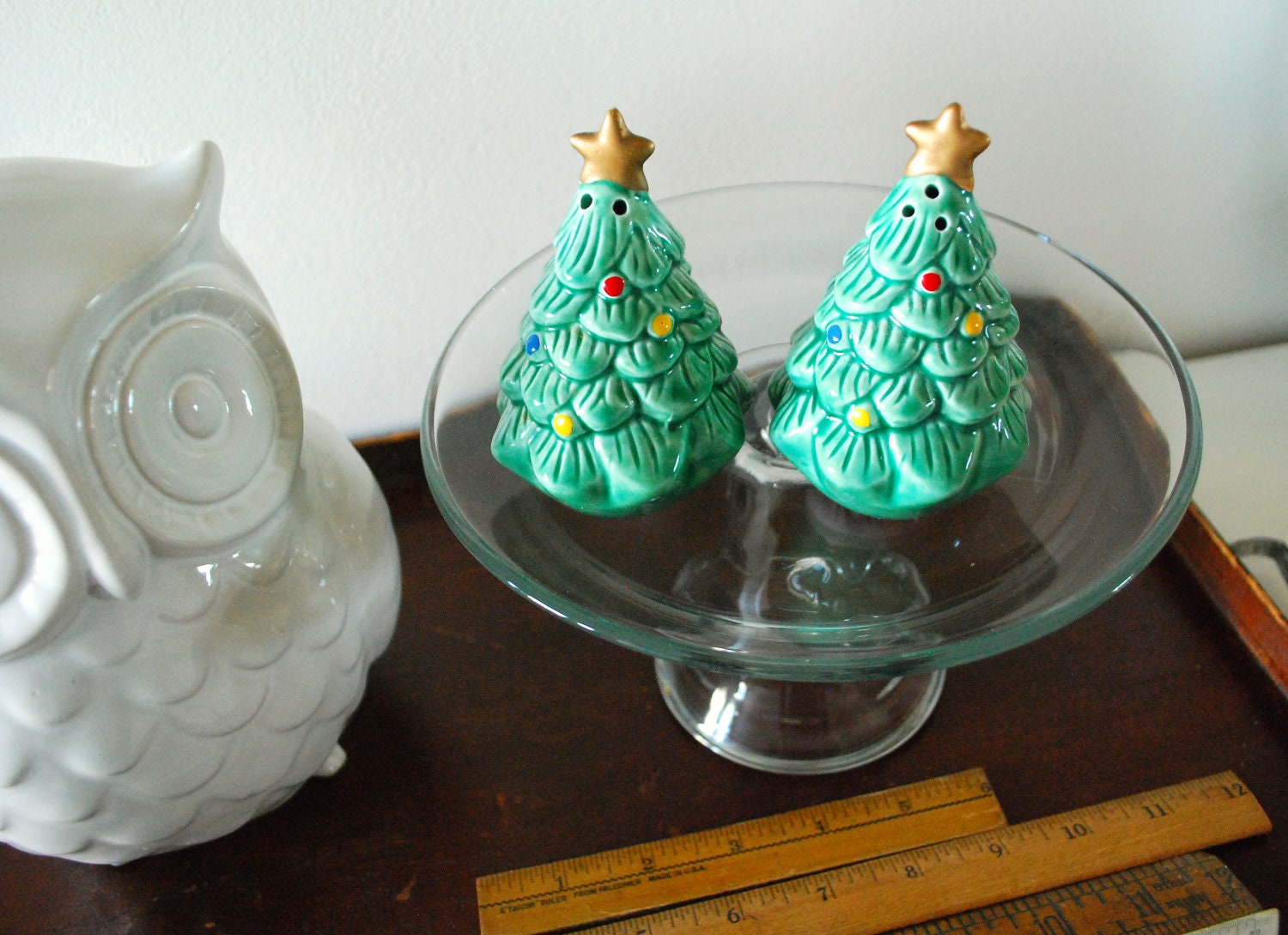 Vintage christmas tree salt and pepper shakers with colorful Colorful salt and pepper shakers