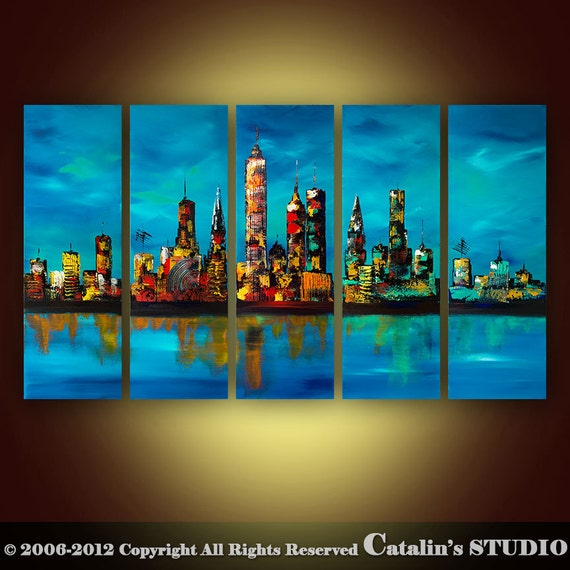Abstract Modern Palette Knife Painting Original Art by Catalin 50x30 Large Cityscape blue