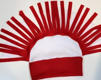 Red and White Mohawk Fleece Hat
