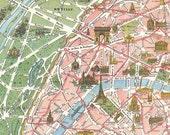"Vintage Paris Tourist Map ""Paris Monumental et Metro"" Europe Antique Map - European Travel Tourism"