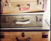 """Vintage Travel Photo - """"Take the Long Way Home"""" - Antique Suitcases Sepia Film Photograph  - Vintage Luggage"""