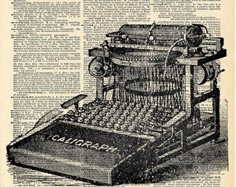 Vintage Typewriter - Dictionary Art Print - Recycled Antique Book Print - Victorian Steampunk Art - Vintage Book Page Art