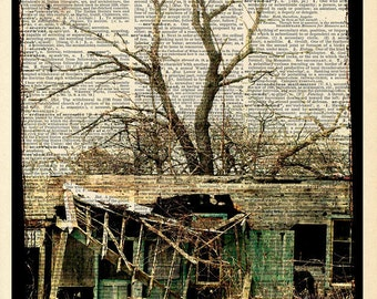 "Haunted House Photo ""House Where Nobody Lives"" Rustic Cabin Photograph Print - Upcycled Dictionary Print - Vintage Book Art"