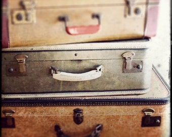 "Vintage Travel Photo - ""Take the Long Way Home"" - Antique Suitcases Sepia Film Photograph  - Vintage Luggage"