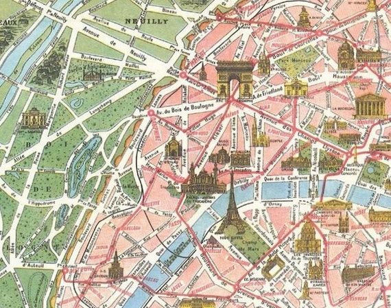 Vintage Paris Tourist Map Paris Monumental et – Map of Paris with Monuments
