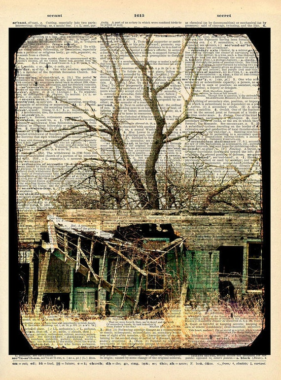 """Haunted House Photo """"House Where Nobody Lives"""" Rustic Cabin Photograph Print - Upcycled Dictionary Print - Vintage Book Art"""