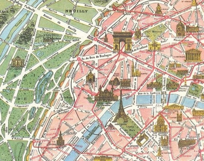 Top Vintage Paris Tourist Map Paris Monumental et QM18