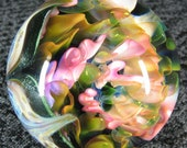"Mad Man Marbles 1 7/8"" Gold & Silver Fumed Implosion Marble"