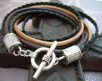 Mens Leather Bracelet, Double Wrap, Black ,Urban Survival Gear USA, Mens Bracelet, Mens Jewelry