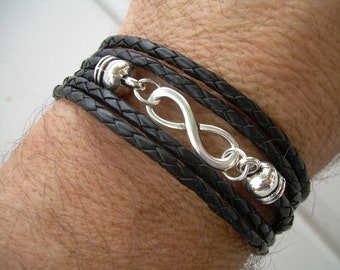 Leather Bracelet, Infinity Bracelet, Triple Wrap, Infinity, Mens Bracelet, Womens Bracelet, Womens Jewelry, Mens Jewelry, Fathers Day, Groom