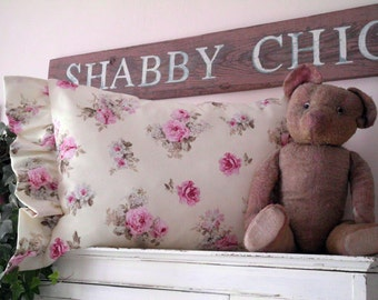 Shabby Chic Pretty Pillow Pink Roses Ruffles and Romance
