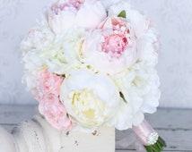 Silk Flowers Arrangement Peony Peonies Rustic Shabby Chic Home Decor