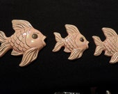 Vintage Decorative Opalescent Pink Ceramic Wall Fish - Set of Three