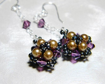 "Amethyst Swarovski Crystal Bronze Pearl Long Dangle Earrings Beadweaving Sterling Silver - ""Laci's Choice"""