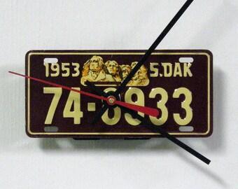 Bike Wall Clock - 1953 South Dakota Bicycle License Plate Clock - Mini SD License Tag Clock - State Decor