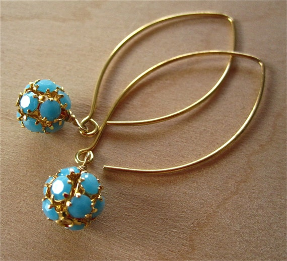 Long Marquise Ear Wires with Turquoise Ball Dangles Handmade
