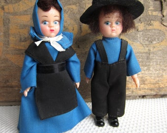 Vintage Amish Boy and Girl Dolls in Blue and Black Pennsylvania Dutch Souvenir Dolls