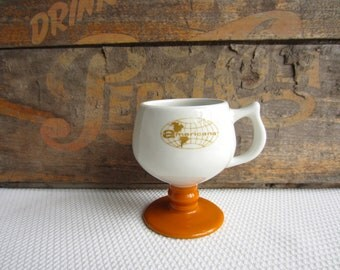 Vintage Americana Footed Mug White with Butterscotch Base Advertising Company Mug