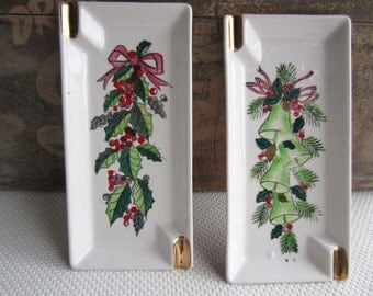 Vintage Christmas Holiday Ceramic Tray Ashtray Holly Bell by Lefton Japan