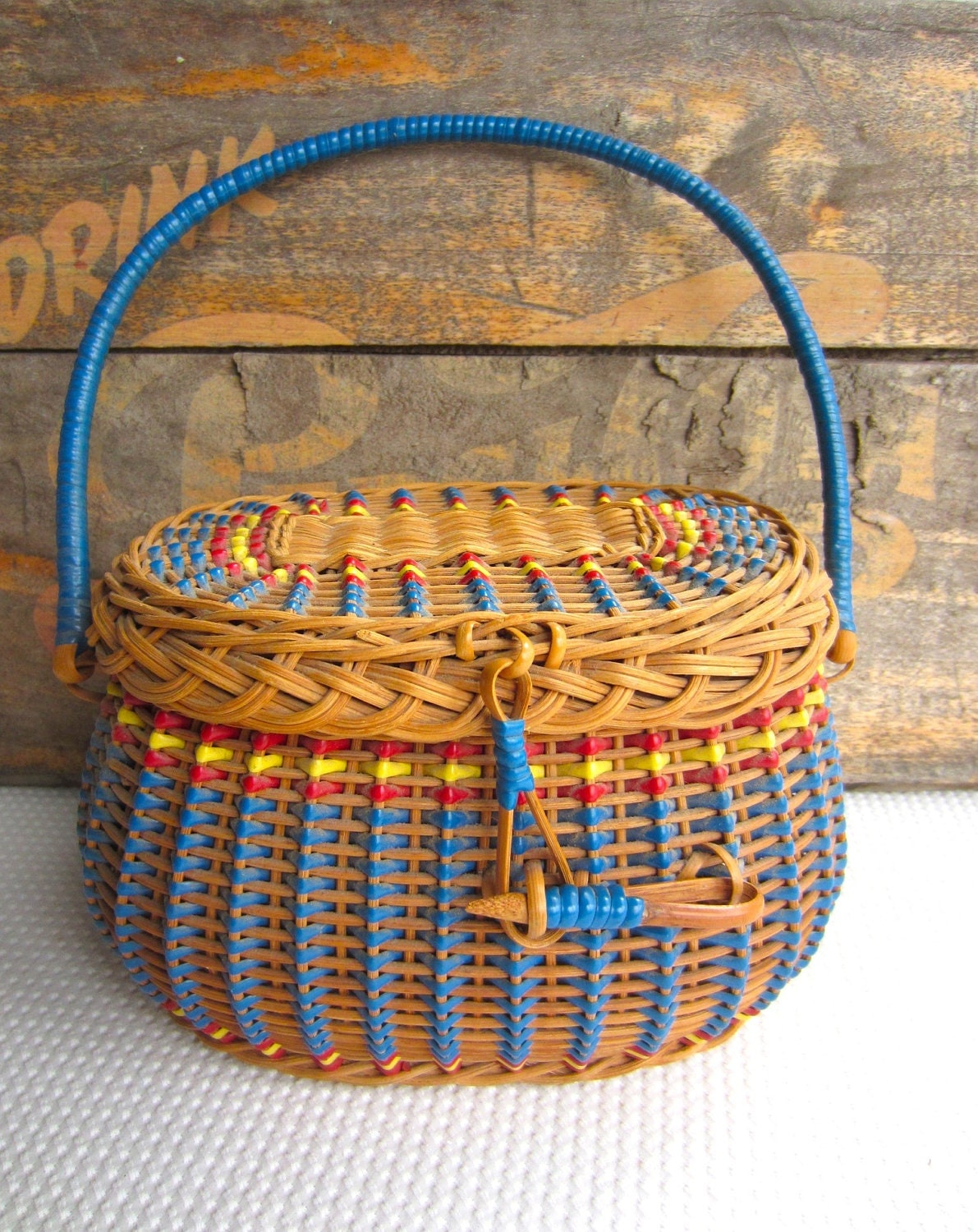 Vintage Wicker Sewing Basket 90