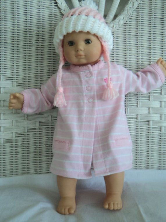 Bitty Baby girl Pink and White winter  outfit with a winter Hat