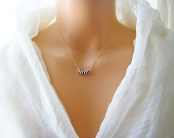Silver plated nuggets necklace