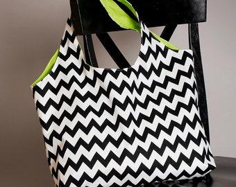 Tote Bag Original Chevron Black and White With Lime Green Interior Washable Eco Friendly