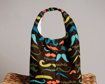 Insulated Lunch Bag Eco Friendly - Mustache Love