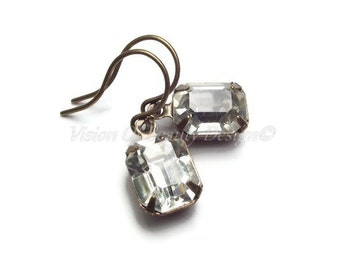 Vintage Crystal Clear Rhinestone Earrings