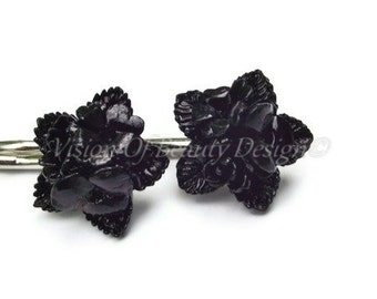 Bobby Pin Set,  Black Star Flower
