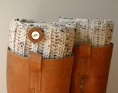 Boot Cuff -Cream Tweed- Crocheted